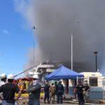 Smoke billows from USS Bonhomme Richard