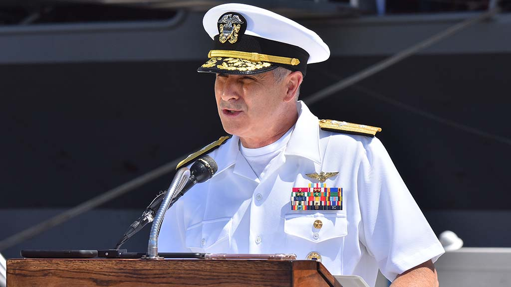 """Rear Adm. Doug Verissimo, commander Carrier Strike Group 9, said """"a ton"""" of information about the coronavirus was learned since more than 1,1000 sailors were afflicted."""