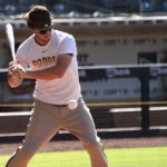 Outfielder Wil Myers lets a pitch pass during batting practice.
