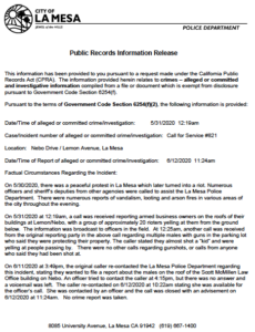 La Mesa Police Department response to Times of San Diego questions. (PDF)
