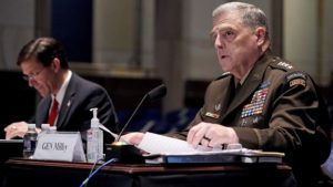 Joint Chiefs Chairman Gen. Mark Milley gives an opening statement during a House Armed Services Committee hearing on 'Department of Defense Authorities and Roles Related to Civilian Law Enforcement' in Washington, DC, U.S. July 9, 2020. Gr