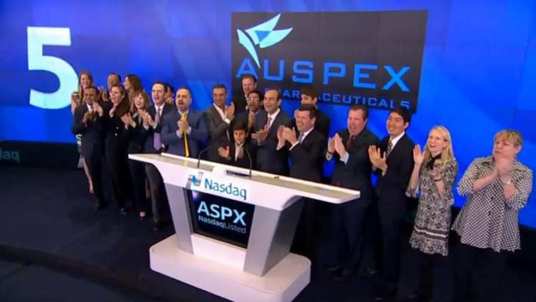 Leaders of San Diego-based Auspex gather at NASDAQ ceremony two months before acquisition by Teva in May 2015.