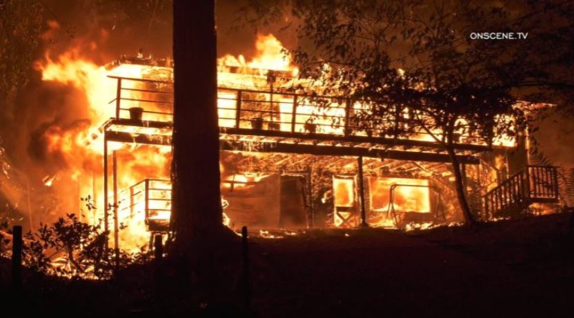 A home burns near Santa Cruz