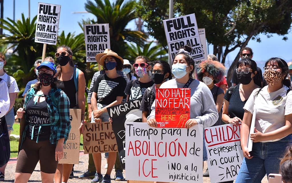 Several hundred protestors gathered to demand humane treatment for immigrant detainees.
