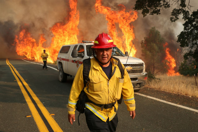 Chula Vista firefighter Rudy Diaz at the LNU Lightning Complex Fire