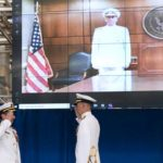 Vice Chief of Naval Operations Adm. William K. Lescher presides virtually over the change of command ceremony at Naval Information Warfare Systems Command as Rear Adm. Douglas Small (right) relieved Rear Adm. Christian Becker.