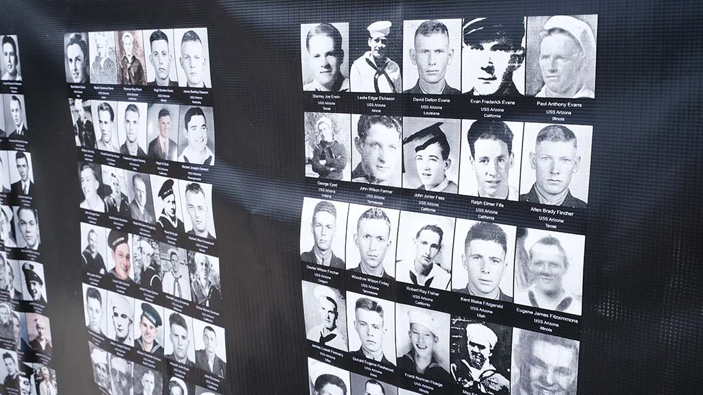 A display of photos of veterans was on display at the 75th anniversary of the end of World War II.