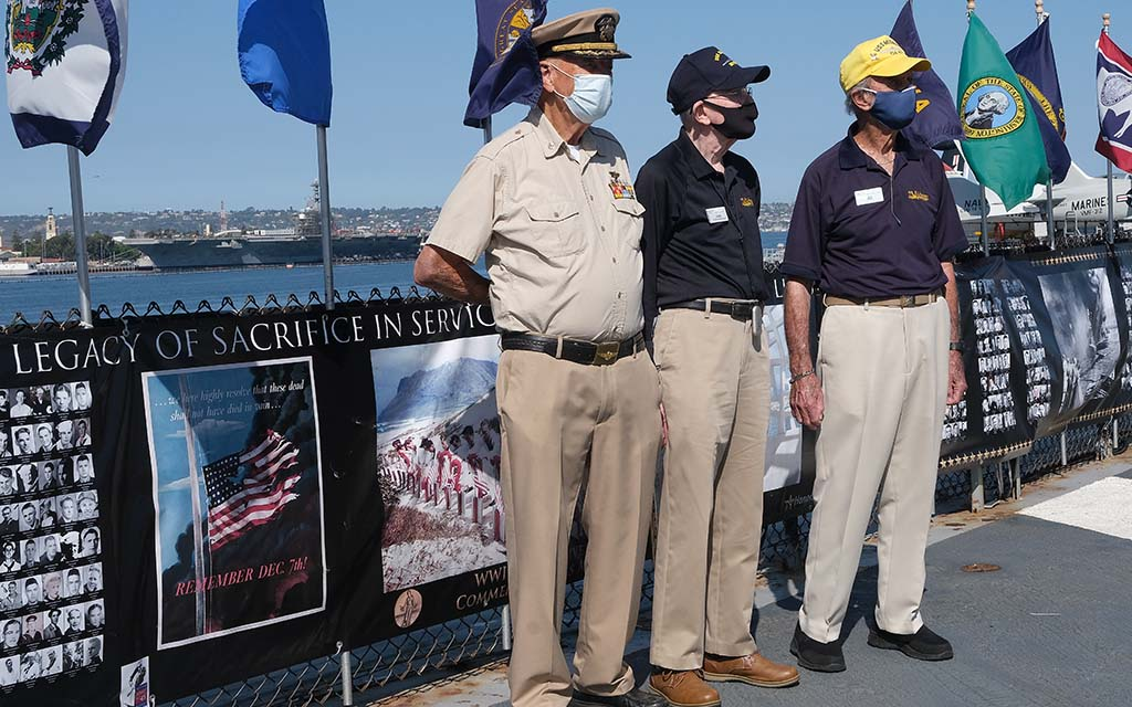 World War II veterans (left to right) Don Hubbard, Jack Scott and Al Hansen honored their fellow servicemen on the 75th anniversary of the end on the war.
