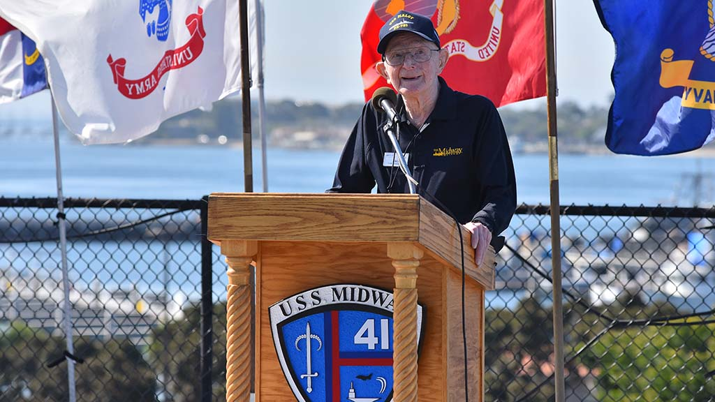 World War II Veteran Jack Scott spoke at a ceremony commemorating the 75th anniversary of the end of World War II.