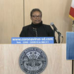 Dr. Wilma Wooten brief the press
