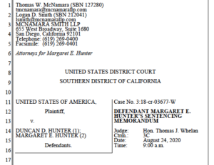 Sentencing memo from lawyers for Margaret Hunter (PDF)