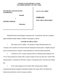SEC complaint against Sepehr Sarshar. (PDF)