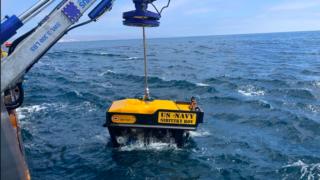 Remote-controlled submersible that found sunken Marine assault vehicle.
