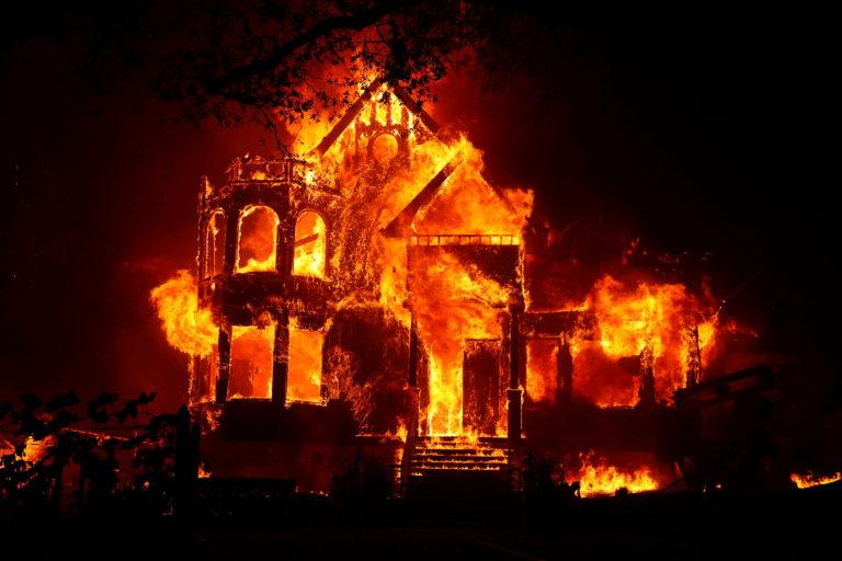 A home burns.