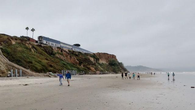 Amtrak train on Del Mar bluffs