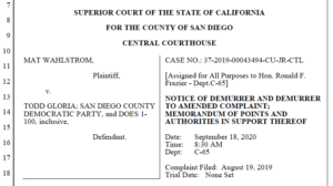Todd Gloria and Mat Wahlstrom legal filings ahead of motion hearing Sept. 18. (PDF)
