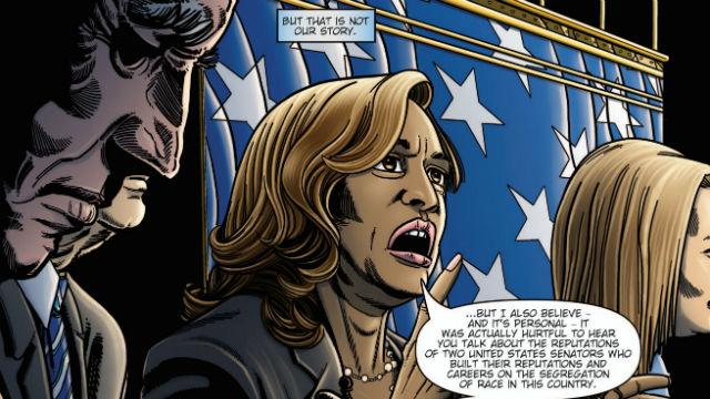 Kamala Harris is depicted during a debate in 2019