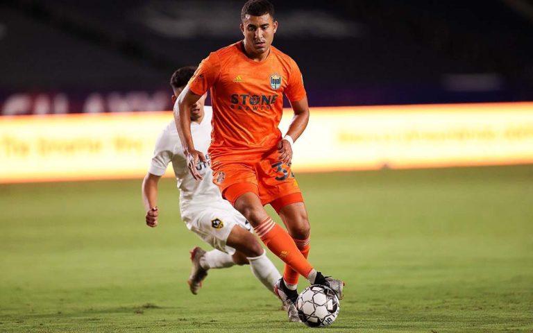 San Diego Loyal player Tarek Morad controls the ball in the 1-1 tie against LA Galaxy.