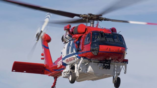 Firefighting helicopter.