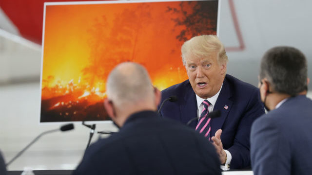 President Trump at a Cal Fire facility