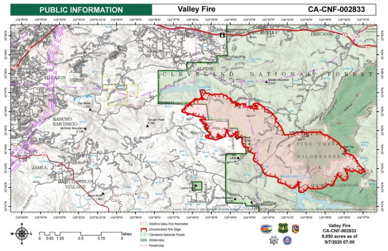 Extent of Valley Fire on Monday morning