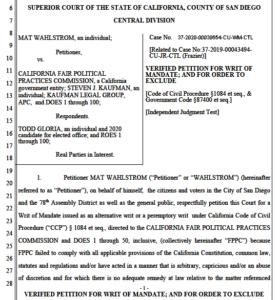 Mat Wahlstrom lawsuit against Fair Political Practices Commission.