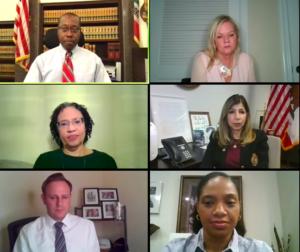 From top to bottom, left to right: Judge Dwayne Moring, Judge Lorne Alksne, Andrea St. Julian, Summer Stephan, Adam Racusin and Dana Littlefield.