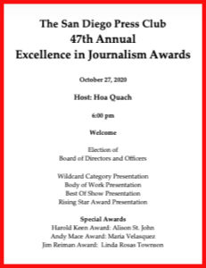 San Diego Press Club 47th annual Excellence in Journalism awards booklet and program.