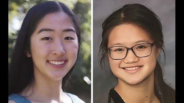 Emily Tianshi (left) and Jessie Gann, both 16, were honored in a virtual ceremony Sept. 30 as Davidson Fellows.