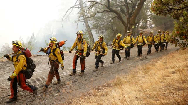 A Cal Fire crew at the Glass Fire