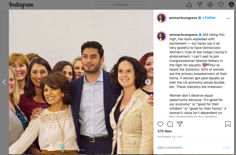 Sara Jacobs (in dark red) and Ammar Campa-Najjar attended a San Diego Democratic Women's Club event in November 2017.