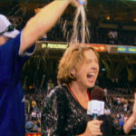 Jane Mitchell doused with beer in 2005 celebration