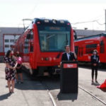 Nathan Fletcher speaks as trolley is unveiled