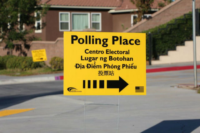 A polling sign