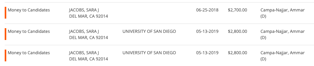 Sara Jacobs lived in Del Mar when she donated to Ammar Campa-Najjar.