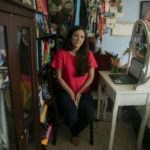 Sarah Rivas teaches history from her childhood bedroom