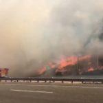 Burning hillside in Orange County