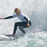Caitlin Simmers of Oceanside competes in the semifinals at the Nissan Super Girl Surf Pro.