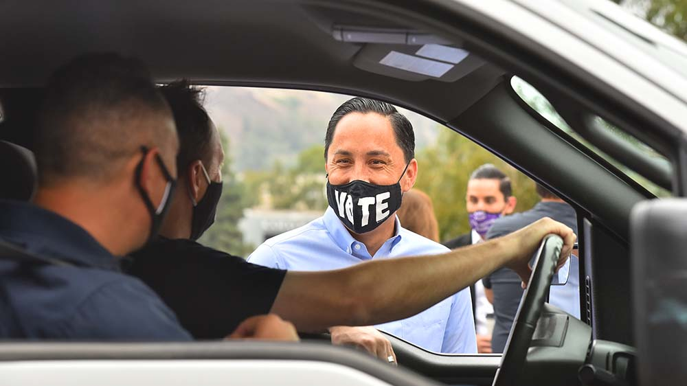 Assemblyman Todd Gloria chats with volunteers who came early for canvassing for Gloria's mayoral race.
