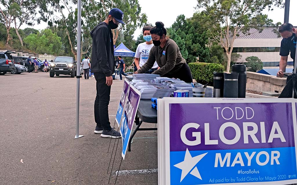 Volunteers for Todd Gloria's mayoral campaign stopped to pick up canvassing material at the United Labor Center in Mission Valley.