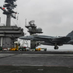 F-18 lands on the USS Theodore Roosevelt