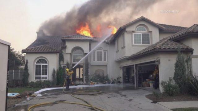 A home burns in Yorba Linda