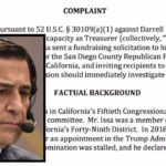 Darrell Issa denies accusations by End Citizens United of violating rules overseen by the Federal Election Commission.