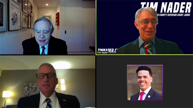 Chris Jennewein (top left) and the Rev. Shane Harris (bottom right) moderated the Zoom debate between Tim Nader and Paul Sarita, who sat 2,600 miles apart.