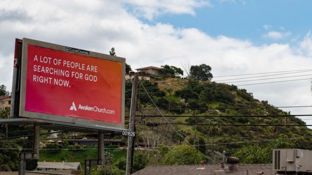 A billboard for Awaken Church.