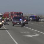 Motorcycle crash scene.