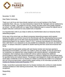 Letter from Head of School Kevin Yaley dated Nov. 13, 2020.