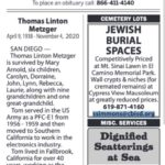 Paid death notice in Tuesday's San Diego Union-Tribune.