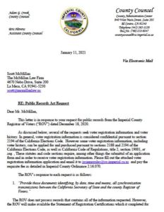 Imperial County Registrar of Voters Office response to Scott McMillan records request.