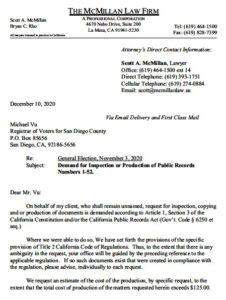 Scott McMillan's letter to San Diego County Registrar of Voters Michael Vu.